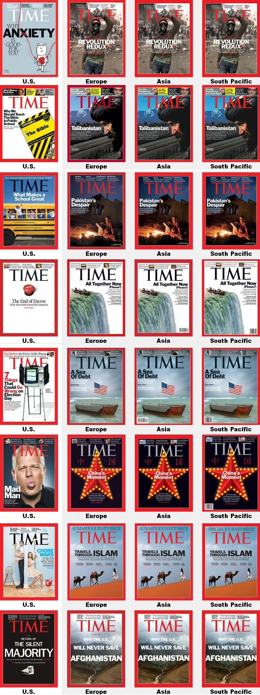 Time Magazine covers USA vs World