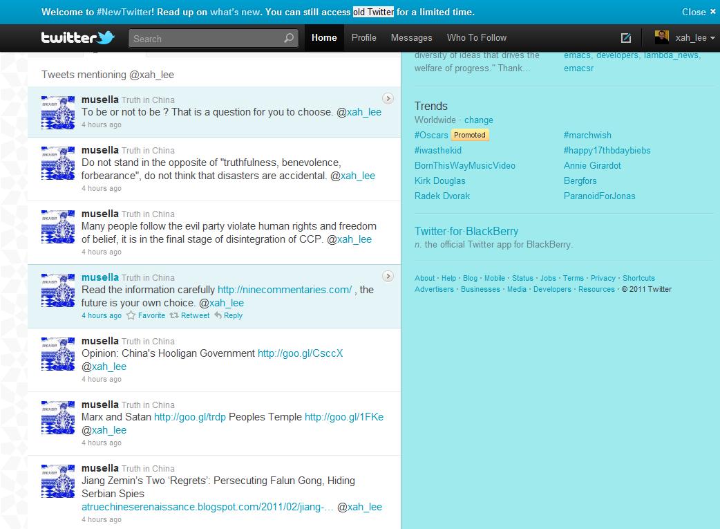 falung gong tweet threat