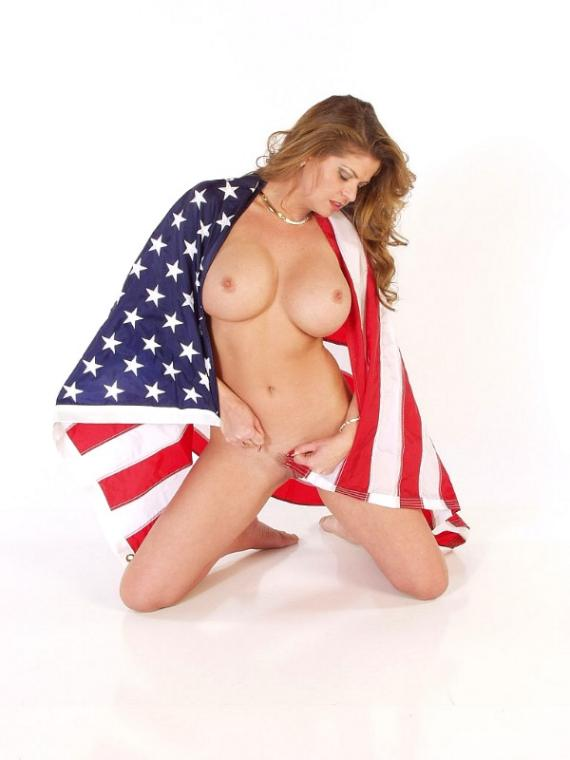 Naked a wrapped hot flag in girl